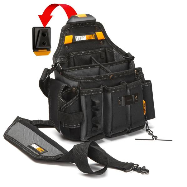 Master Electrician's 12.5 in. 25-Pockets Pouch and Shoulder Strap in Black