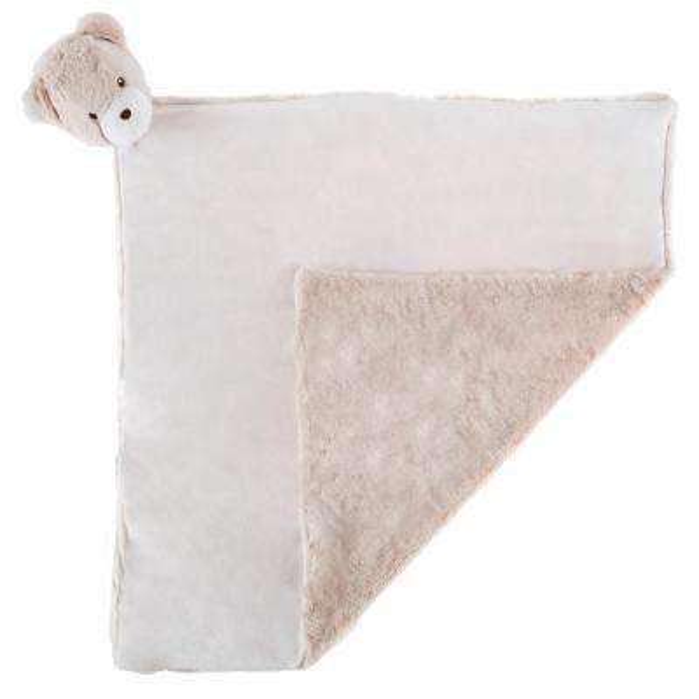 Plush Tan Bear Buddy Baby Blanket