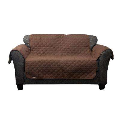 Reynold Water Resistant Chocolate-Natural Fit Polyester Fit Loveseat Slip Cover