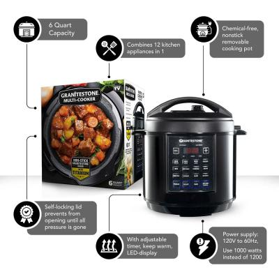 Granite Stone Diamond-6 Qt. Black Electric Triple Layer Titanium Coating Multi-Pressure Cooker with Built-In Timer and Pre-Settings