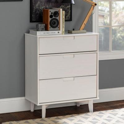 3-Drawer White Groove Handle Wood Dresser