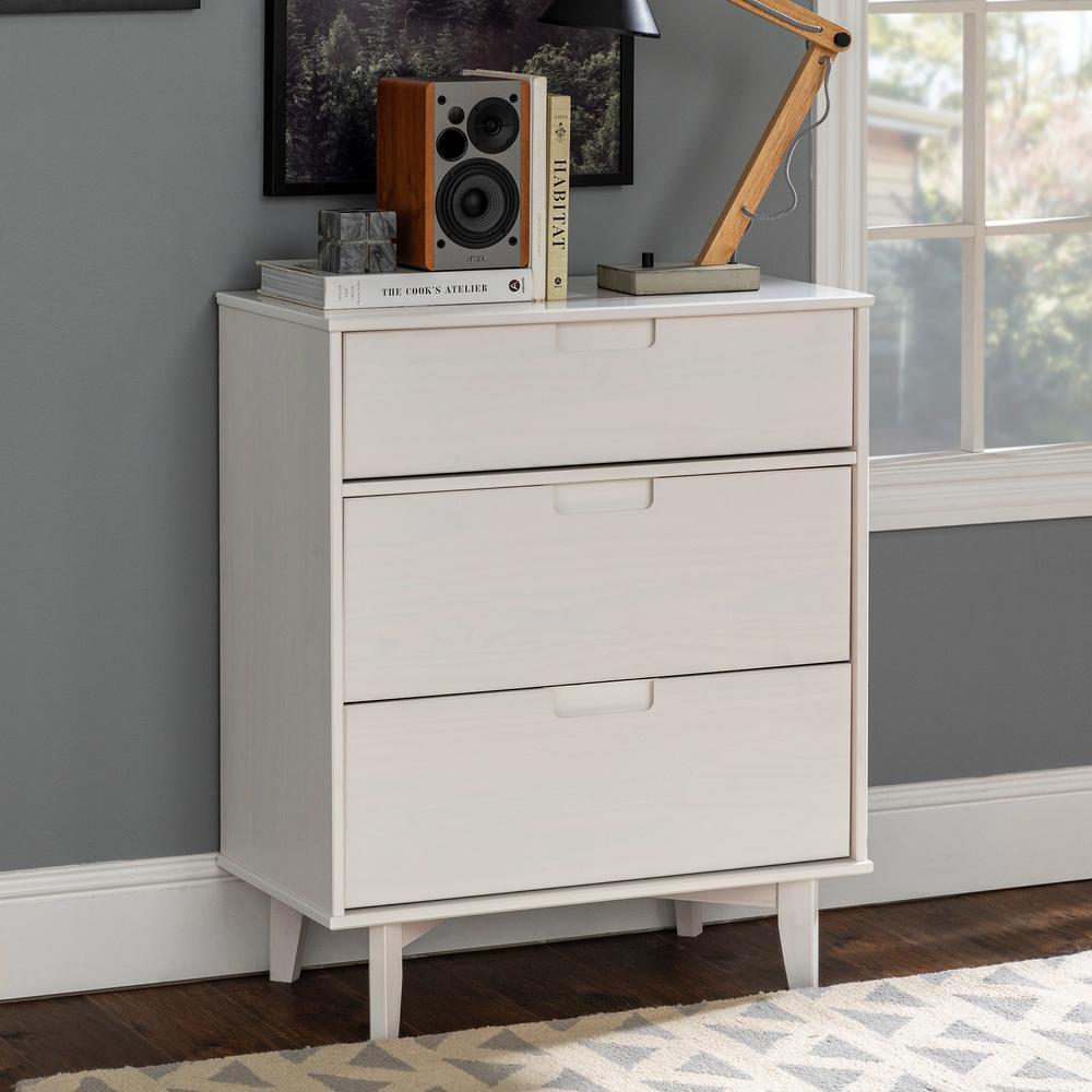 3-Drawer White Groove Handle Wood Dresser