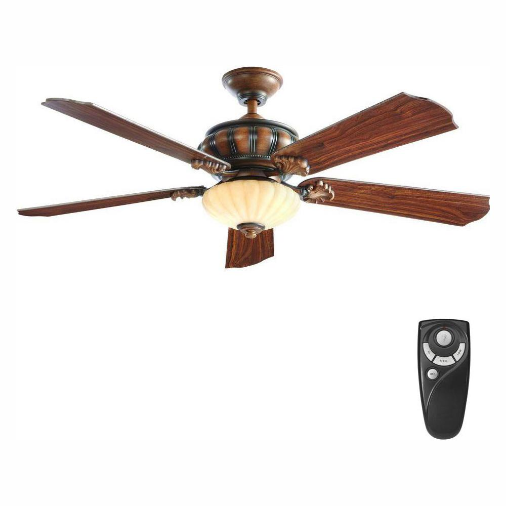 Home Decorators Collection Abigail 52 in. LED Indoor Mediterranean Dark Walnut Ceiling Fan with Light Kit and Remote Control