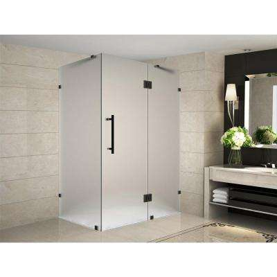 Avalux 42 in. x 34 in. x 72 in. Completely Frameless Hinged Shower Enclosure with Frosted Glass in Oil Rubbed Bronze
