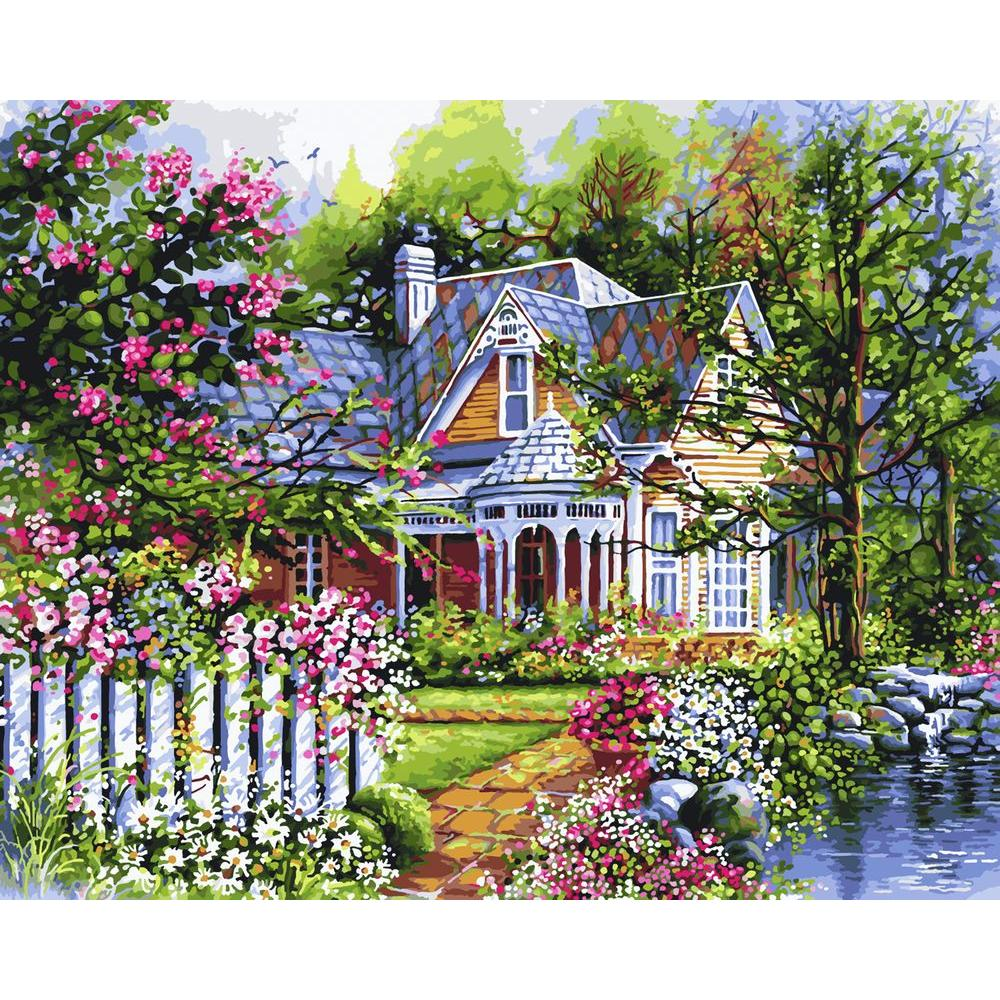Plaid Paint by Number 16 in. x 20 in. 24-Color Kit Victorian Cottage ...