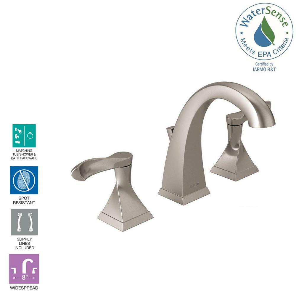 Widespread 2-Handle Bathroom Faucet in SpotShield Brushed Nickel