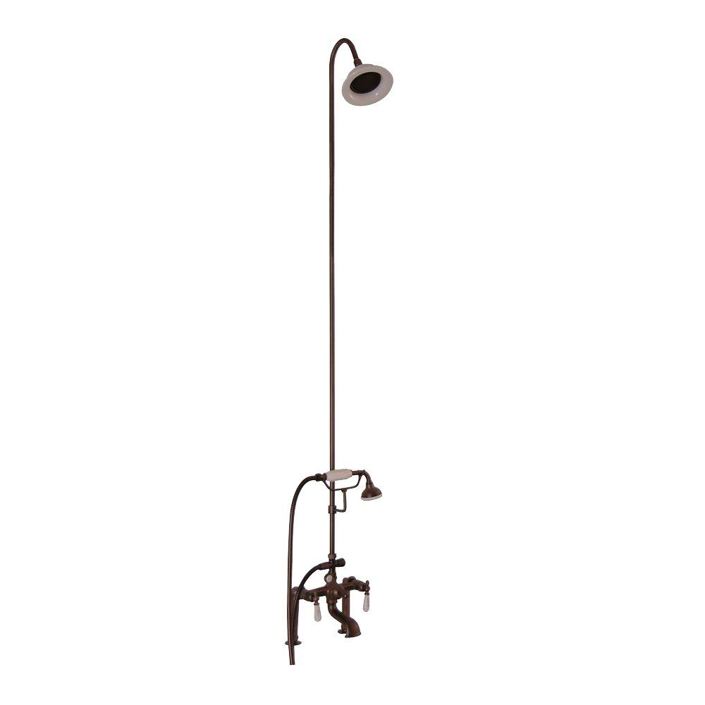 3 handle shower faucet oil rubbed bronze. 3 Handle Claw Foot Tub Faucet with Riser  Hand Shower and Showerhead Pegasus Old Style Spigot