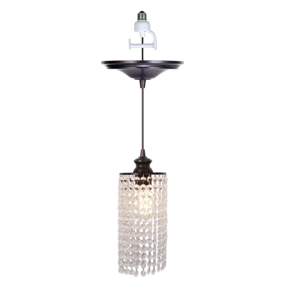 Worth Home Products Instant Pendant 1 Light Recessed Conversion Kit Brushed Bronze Crystal Shade