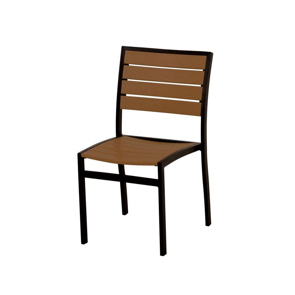Euro Textured Black/Teak Patio Dining Side Chair