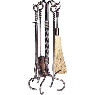 5-Pices Antique Copper Fireplace Tool Set