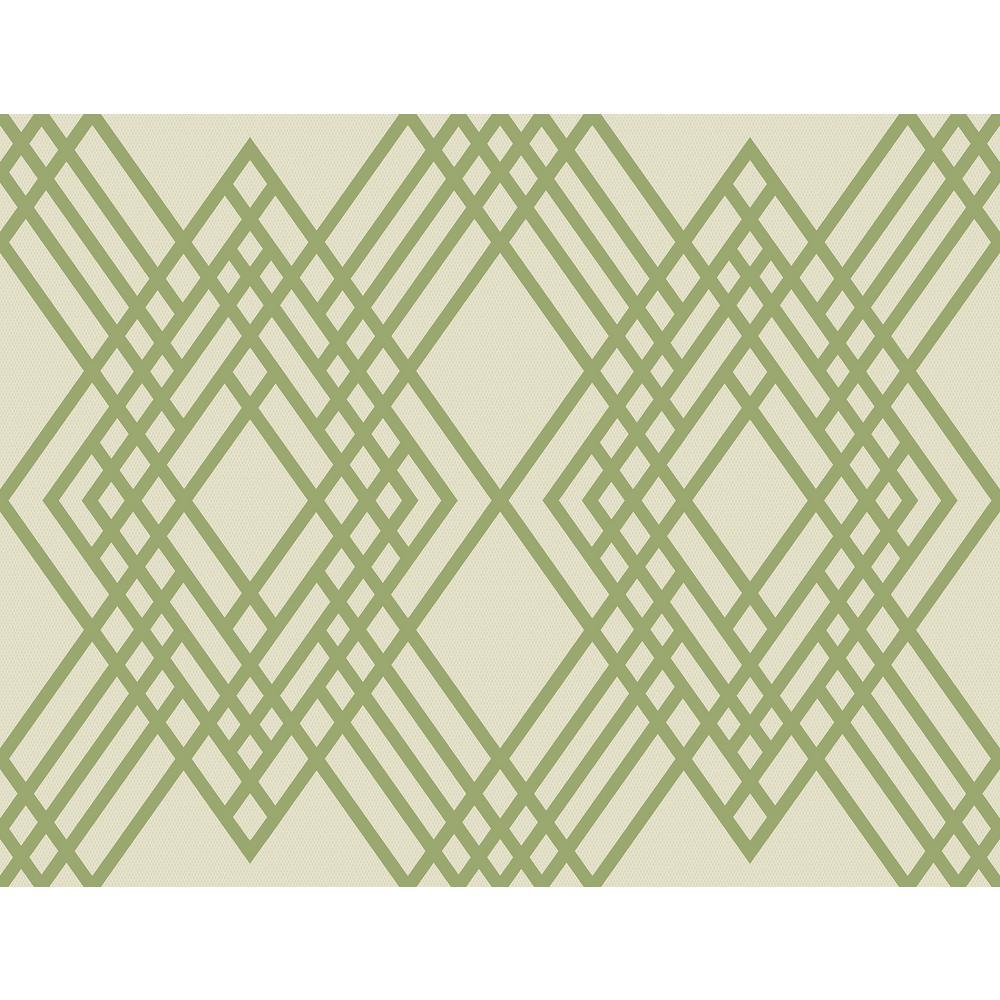Seabrook Designs Cayman Lime and Off-White Diamond Lattice Wallpaper TA21304