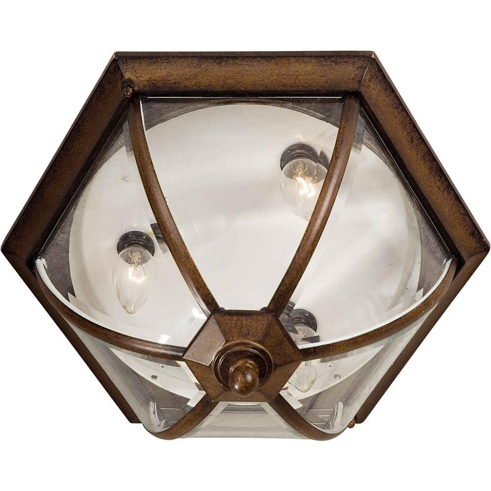 Talista 3-Light Outdoor Rustic Sienna Ceiling Mount with Clear Beveled Glass Panels
