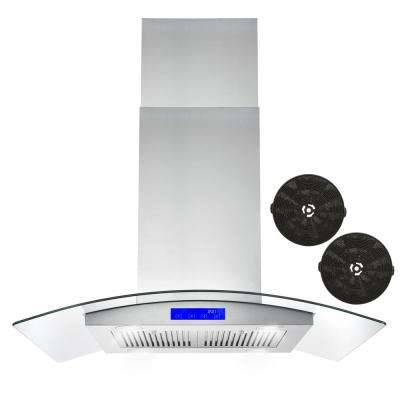 36 in. Ductless Island Range Hood in Stainless Steel with LED Lighting and Carbon Filter Kit for Recirculating