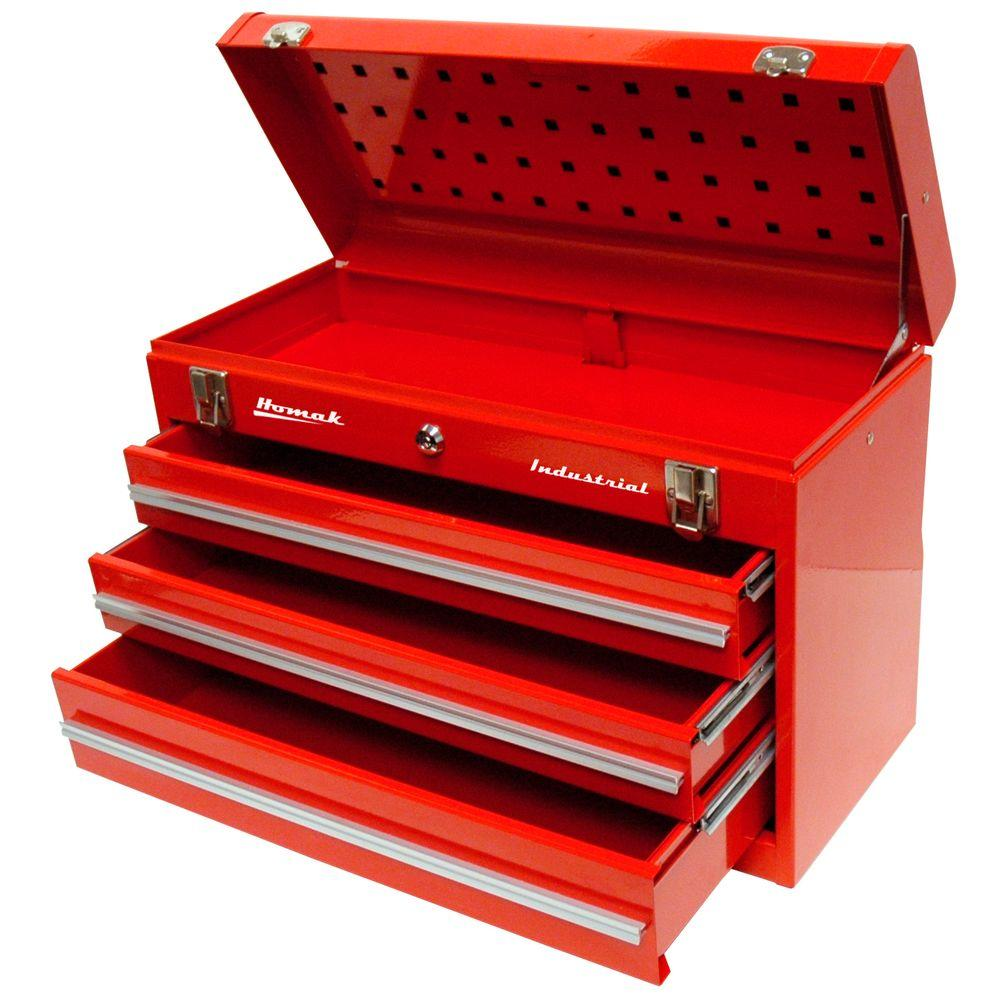 Homak Industrial 20 In 3 Drawer Friction Toolbox In Red