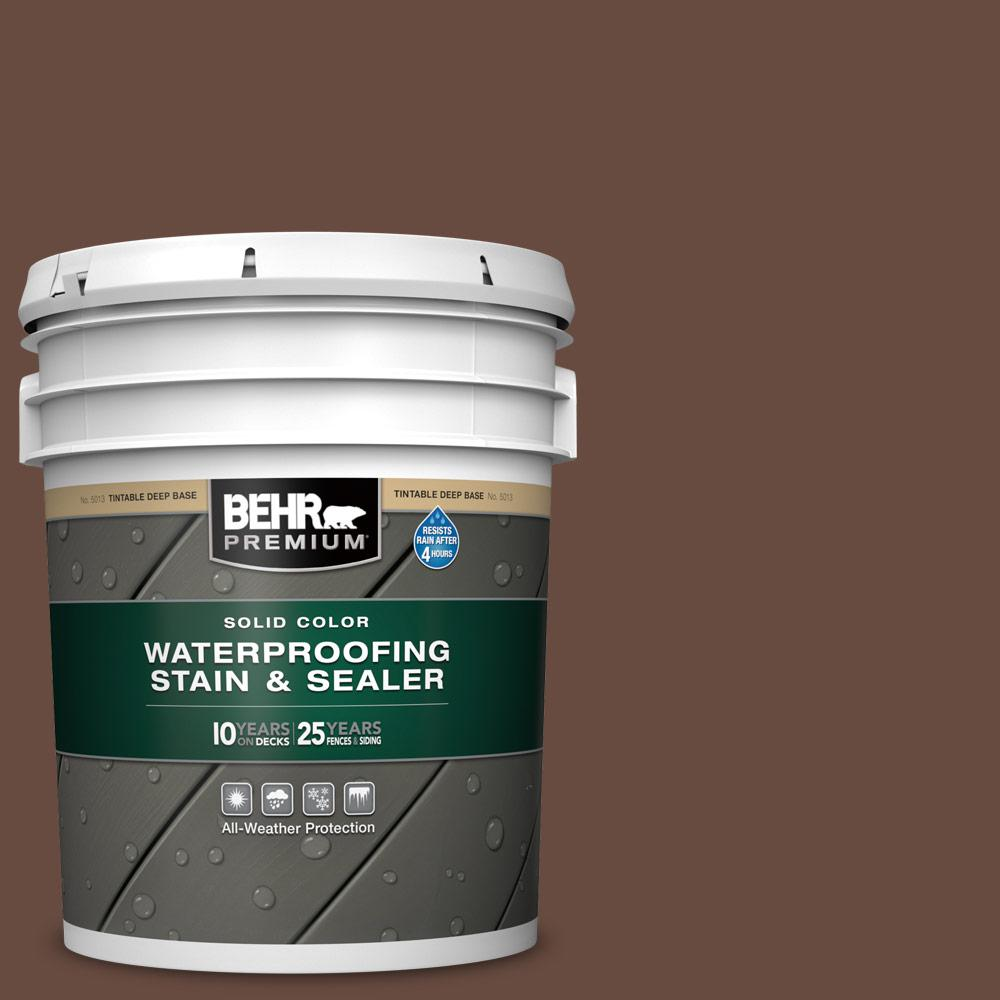 BEHR Premium 5 gal. #SC-117 Russet Solid Color Waterproofing Exterior Wood Stain and Sealer