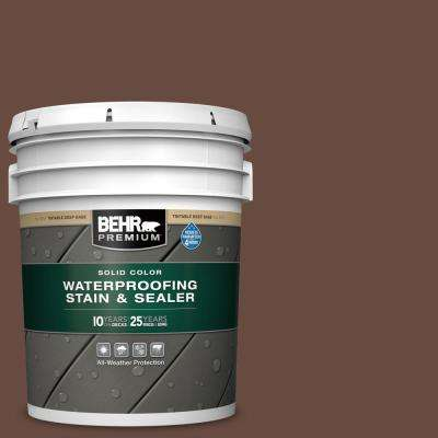 5 gal. #SC-117 Russet Solid Color Waterproofing Exterior Wood Stain and Sealer