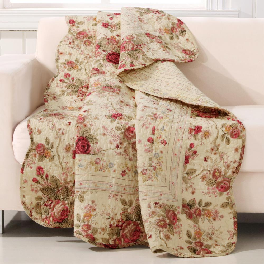Antique Rose Multi Quilted Cotton Throw