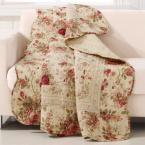 Antique Rose Multicolored Quilted Cotton Throw