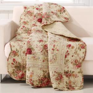 Greenland Home Fashions Antique Rose Multicolored Quilted Cotton Throw Gl Throwar The Home Depot