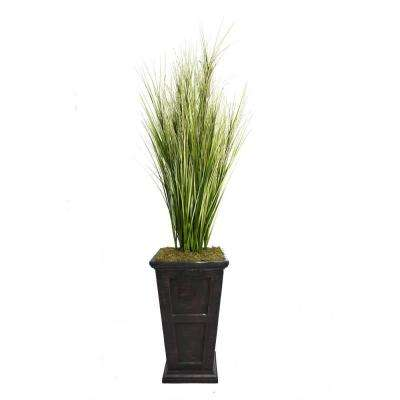 79 in. Tall Onion Grass with Twigs in 16 in. Fiberstone Planter