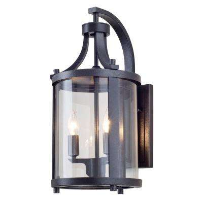 Antonia 2-Light Hammered Black Outdoor Wall Mount Sconce