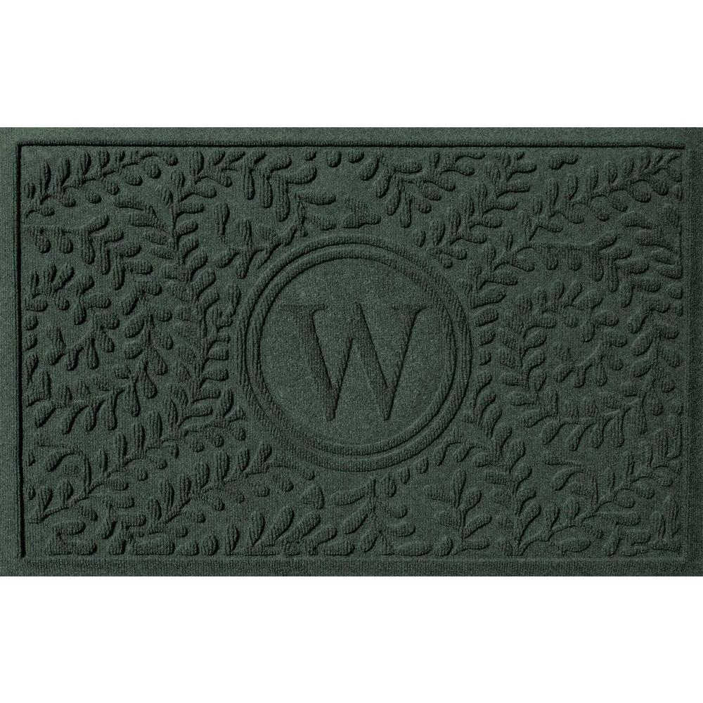 Bungalow Flooring Boxwood Evergreen 24 In. X 36 In. Monogram W Door Mat