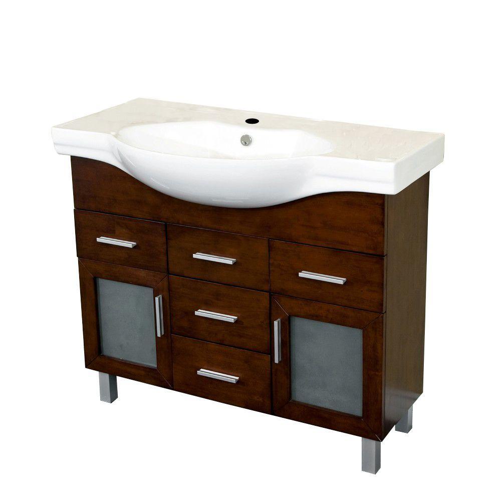 Bencia 39.8 in. W x 18.5 in. D Single Vanity in Walnut with Ceramic Vanity Top in White with White Basin