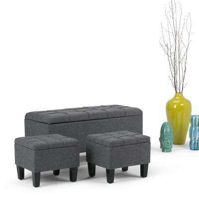 Sea Mills 44 inch Wide Contemporary Rectangle Storage Ottoman in Slate Grey Linen Look Fabric