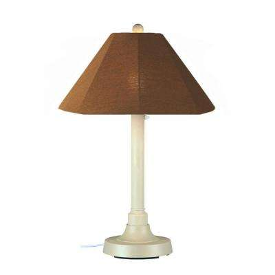 San Juan 34 in. Outdoor White Table Lamp with Teak Shade