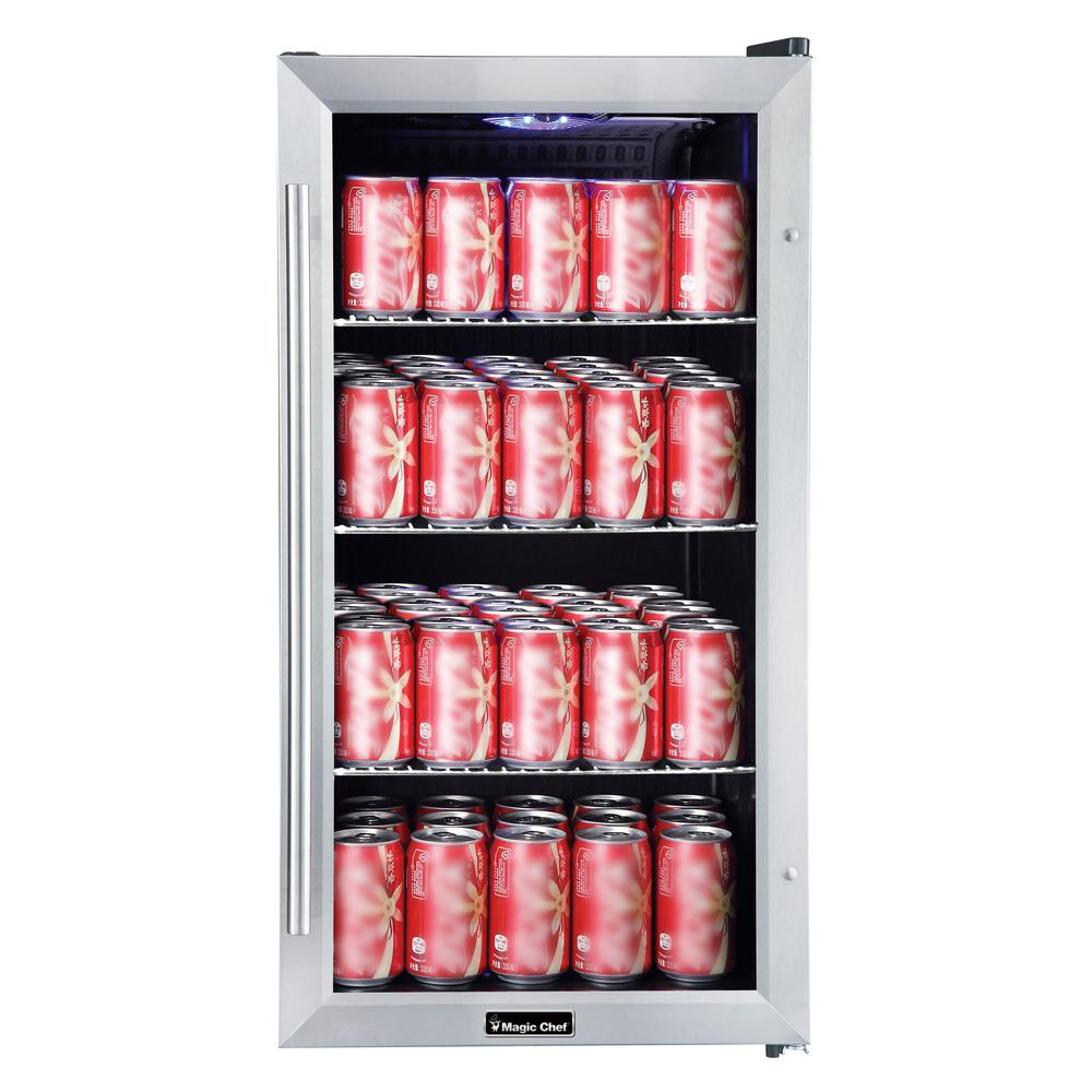 MagicChef Magic Chef 3.1 cu. ft. 87 (12 oz.) Can Beverage Cooler in Stainless Steel