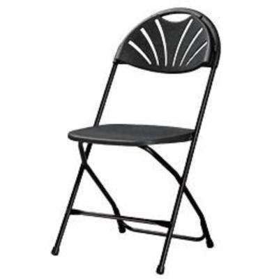 Commercial Heavy Duty Fan Back Resin Folding Chair with Comfortable Contoured Back in Black (8-Pack)