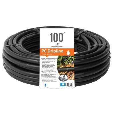 DIG-112PC-12 in. x 100 ft. 1-GPH Pressure Compensating Drip Line with 0.700 in. O.D.