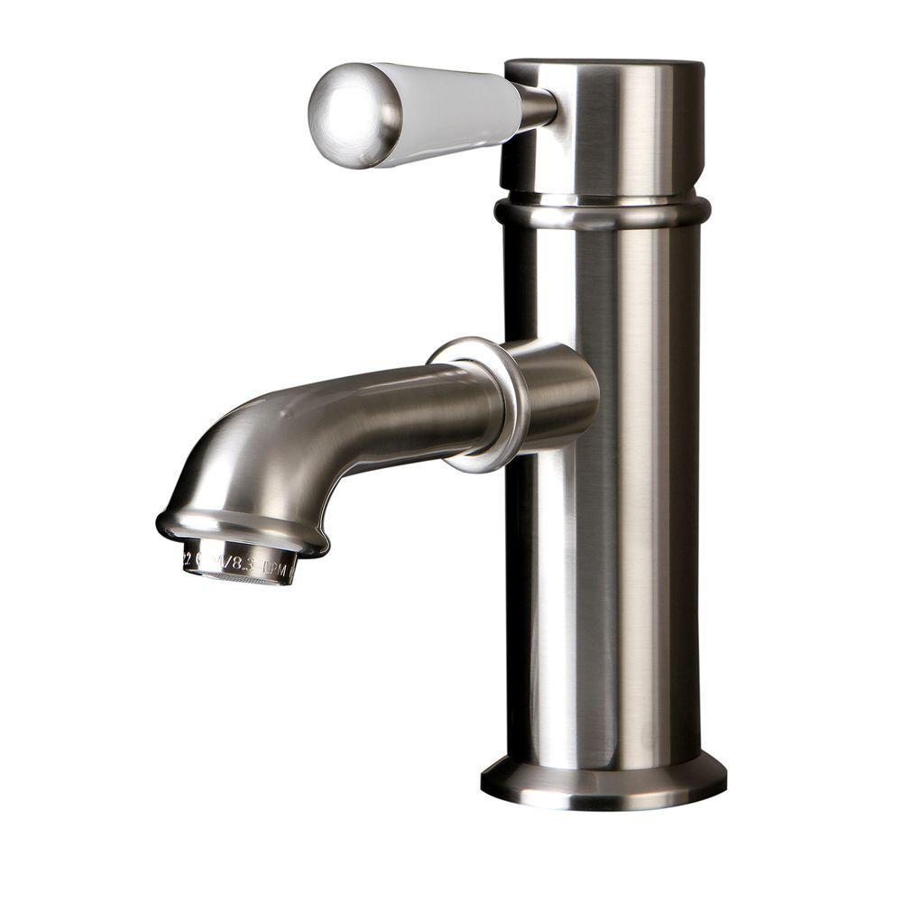Paris Single Hole 1-Handle Mid-Arc Bathroom Faucet in Satin Nickel