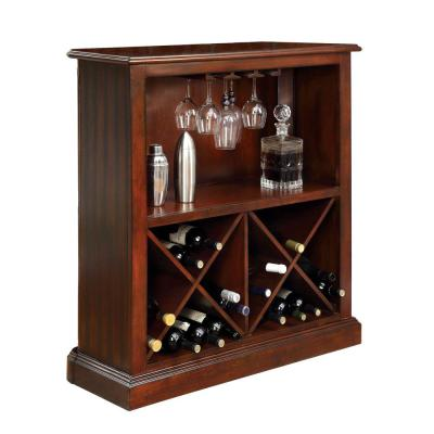 Luxurious 40.75 in. H Cherry Finish Wood and Glass Bar Table Cum Cabinet