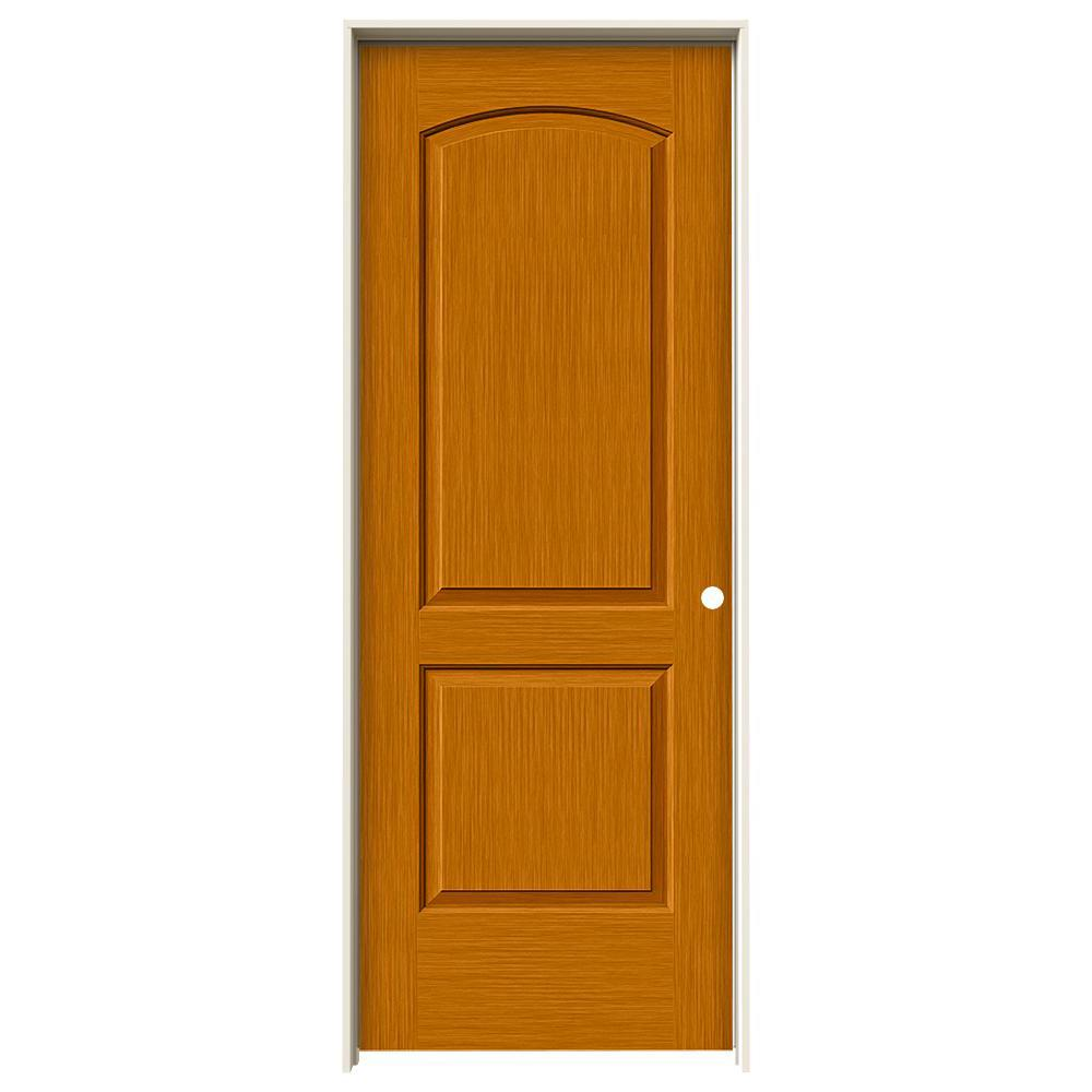 Jeld Wen 30 In X 80 In Continental Saffron Stain Left Hand Solid Core Molded Composite Mdf