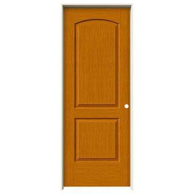 30 in. x 80 in. Continental Saffron Stain Left-Hand Solid Core Molded Composite MDF Single Prehung Interior Door