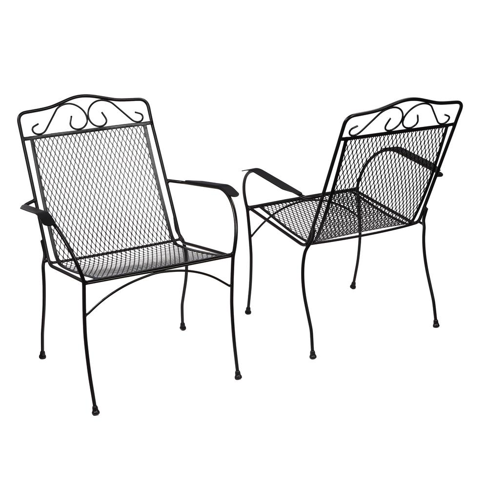 Hampton Bay Nantucket Metal Outdoor Dining Chair 2 Pack 6990700