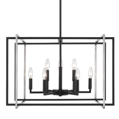 Tribeca 9-Light Black Chandelier with Pewter Accents
