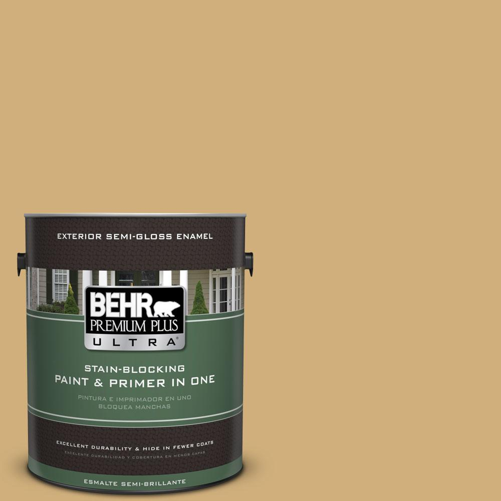 BEHR Premium Plus Ultra 1-gal. #340F-5 Beachwalk Semi-Gloss Enamel Exterior Paint