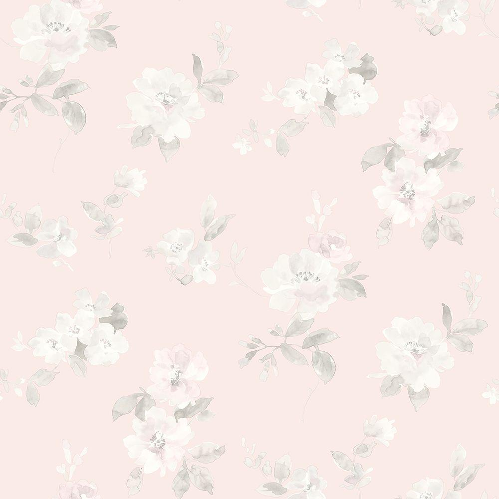 Chesapeake Captiva Light Pink Floral Toss Wallpaper Sample - Light pink wallpaper for bedrooms
