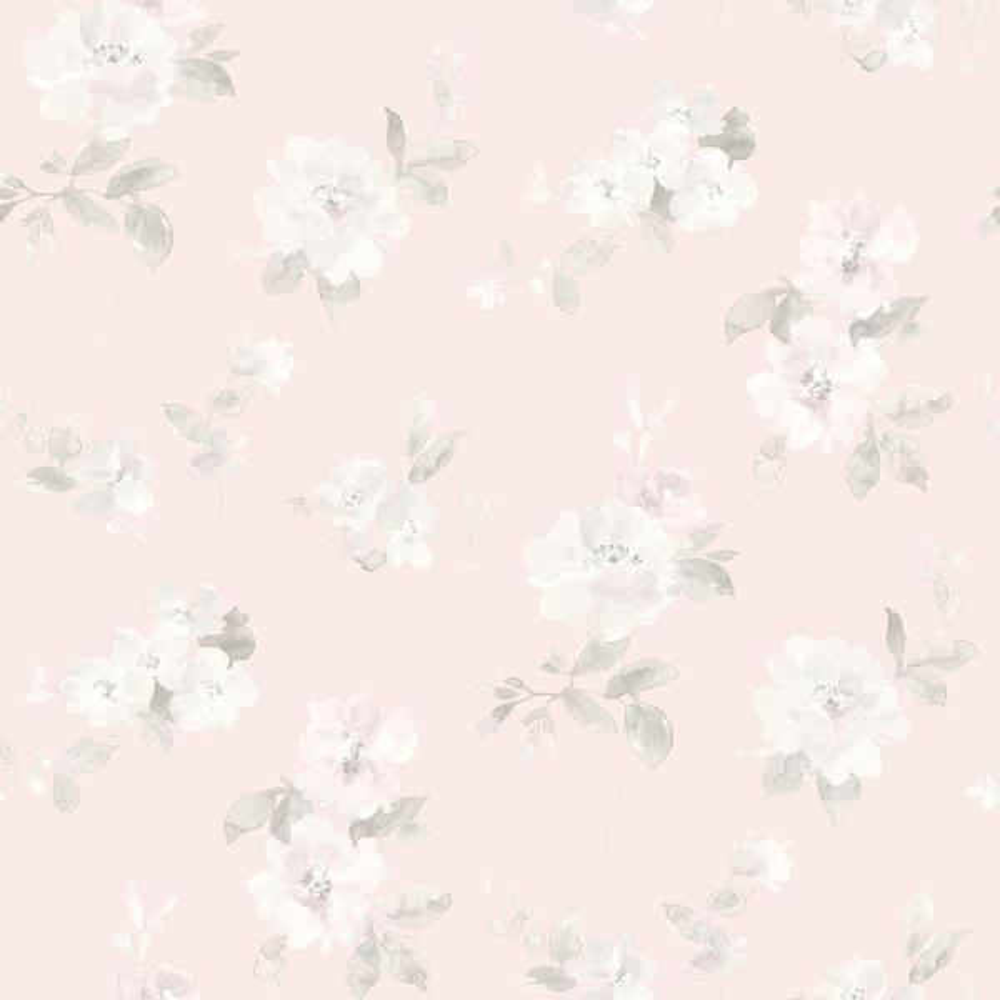 Chesapeake Captiva Light Pink Floral Toss Wallpaper Sample