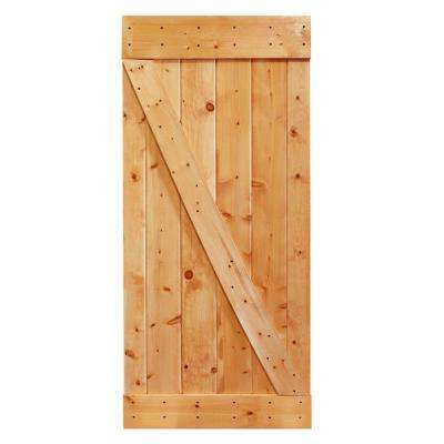 36 in. x 84 in. Stained Sliding Knotty Pine Wood Interior Barn Door Slab