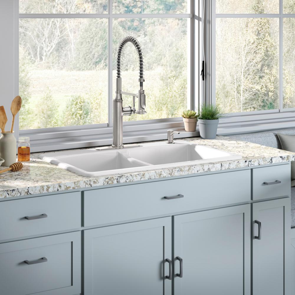 Kohler Brookfield Drop In Cast Iron 33 4 Hole Double Bowl Kitchen Sink White With Sous Faucet Vibrant Stainless Steel