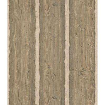 Northwoods Lodge Light Brown Hewn Log Wallpaper Sample