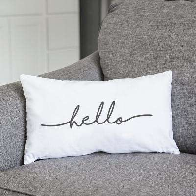 Hello White Graphic Polyester 16 in. x 18 in. Throw Pillow