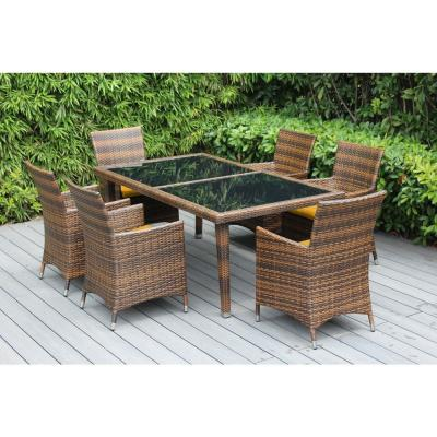 Ohana Mixed Brown 7-Piece Wicker Patio Outdoor Dining Set with Sunbrella Sunflower Yellow Cushions