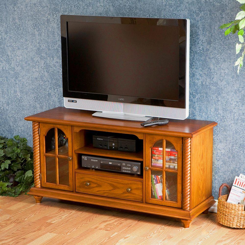 Southern Enterprises La Salle Antique Oak Storage Entertainment Center