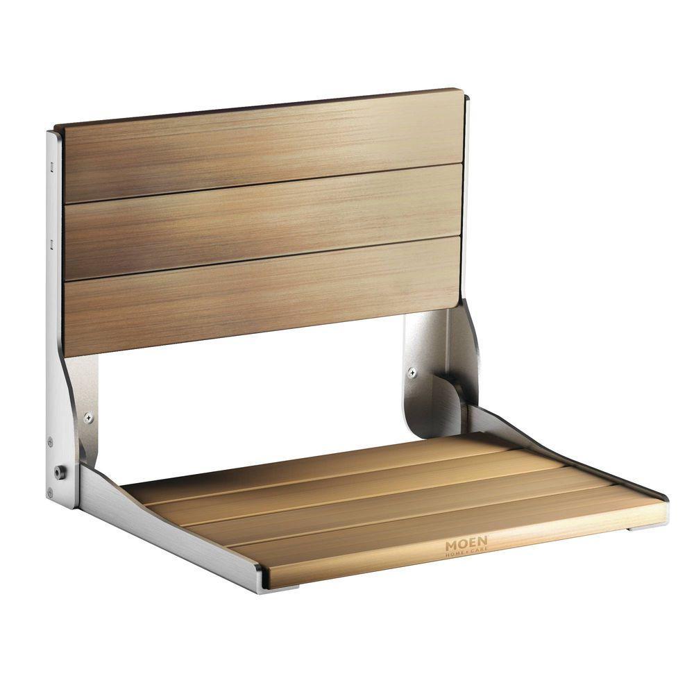 Moen Fold Down Teak Shower Chair by MOEN