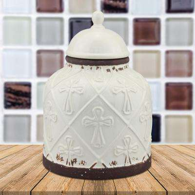 7 in. x 9.5 in. Worn White Ceramic Cross Cookie Jar