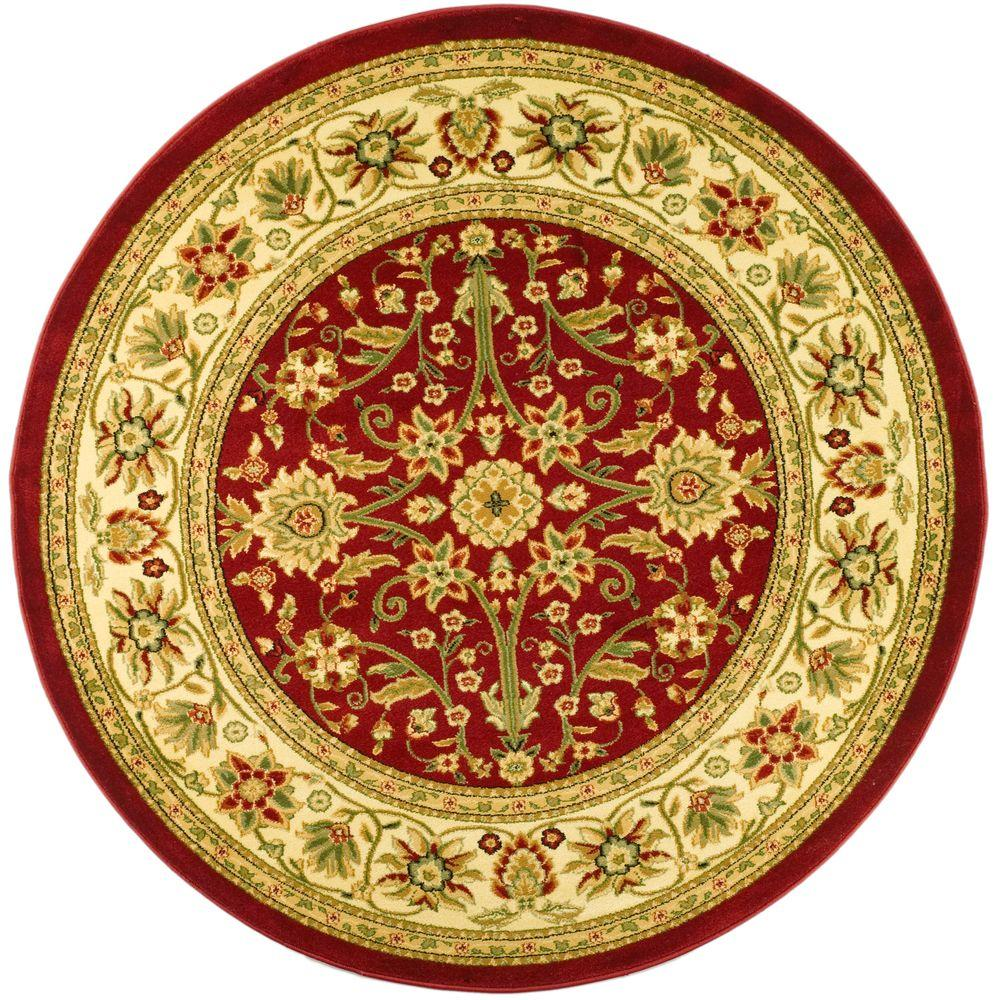 safavieh lyndhurst red ivory 5 ft 3 in x 5 ft 3 in round area rug lnh212f 5r the home depot. Black Bedroom Furniture Sets. Home Design Ideas